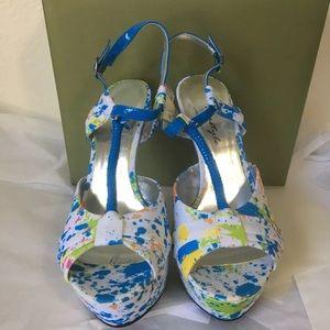 Paint splattered women's shoes heels